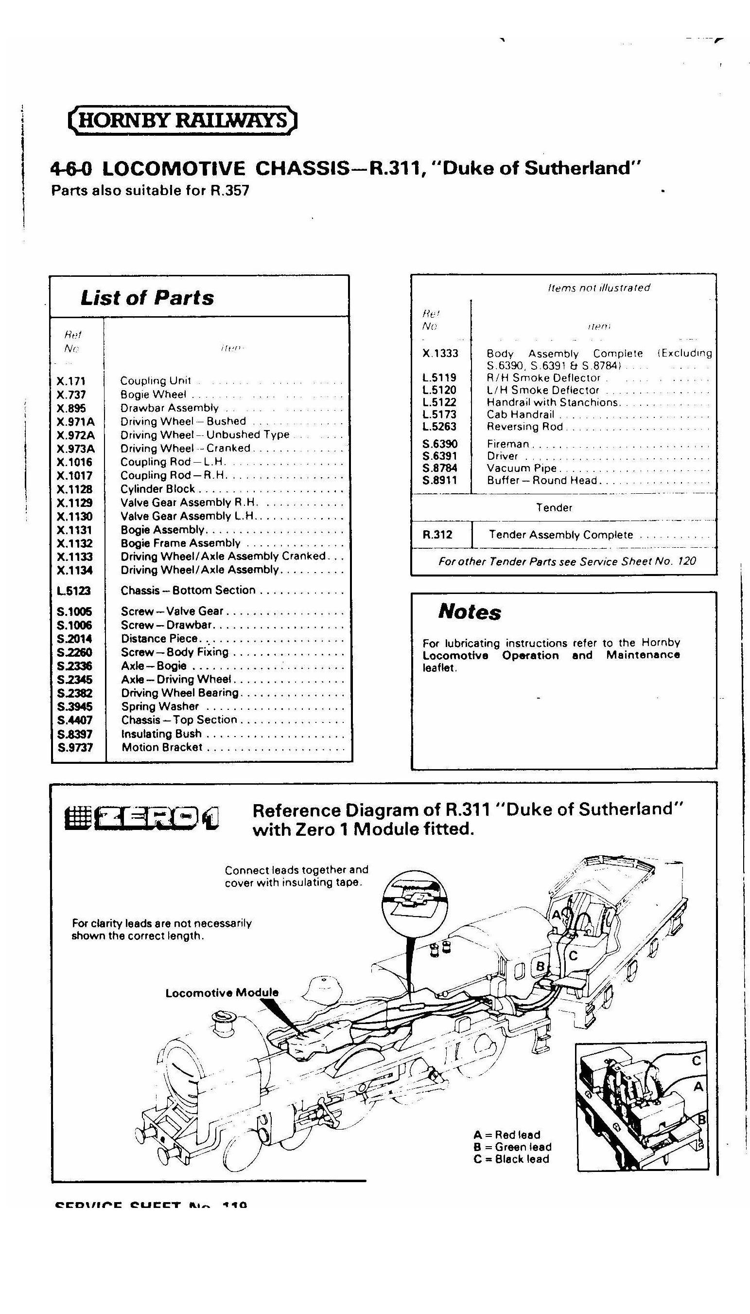 index of hornby service sheets